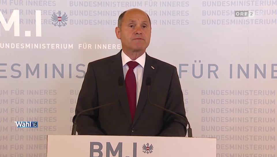 Innenminister Sobotka verkündet Wahlresultat