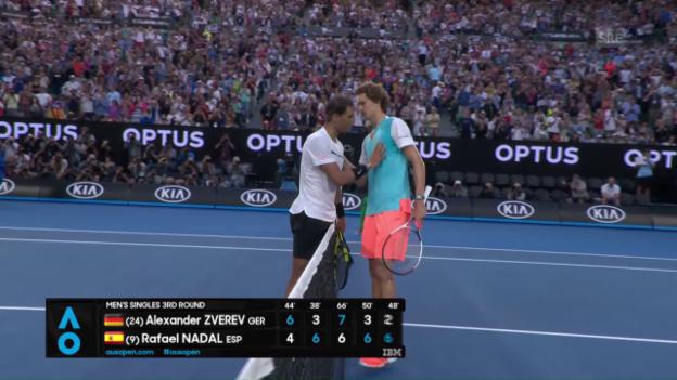 Video «Zverev gewinnt epischen Ballwechsel, Nadal den Match» abspielen