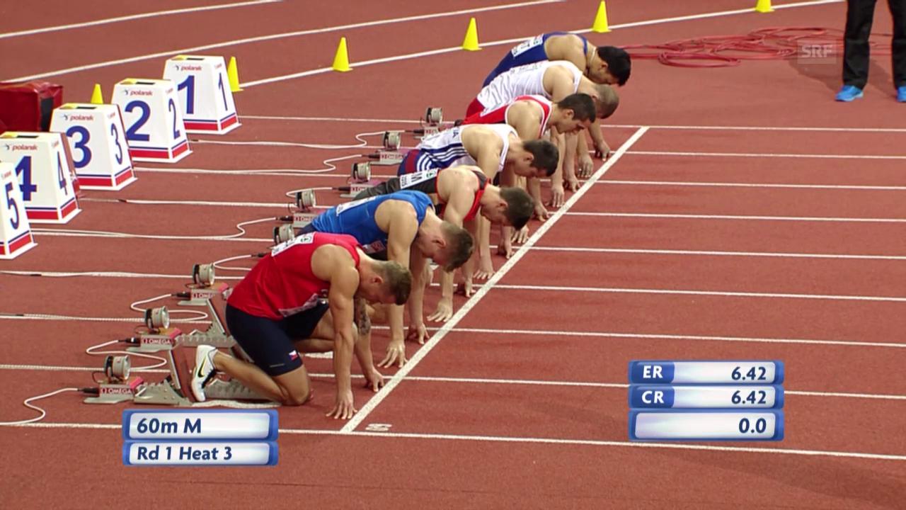 Leichtathletik: Hallen-EM in Prag, 60 m Männer, Vorlauf mit Pascal Mancini