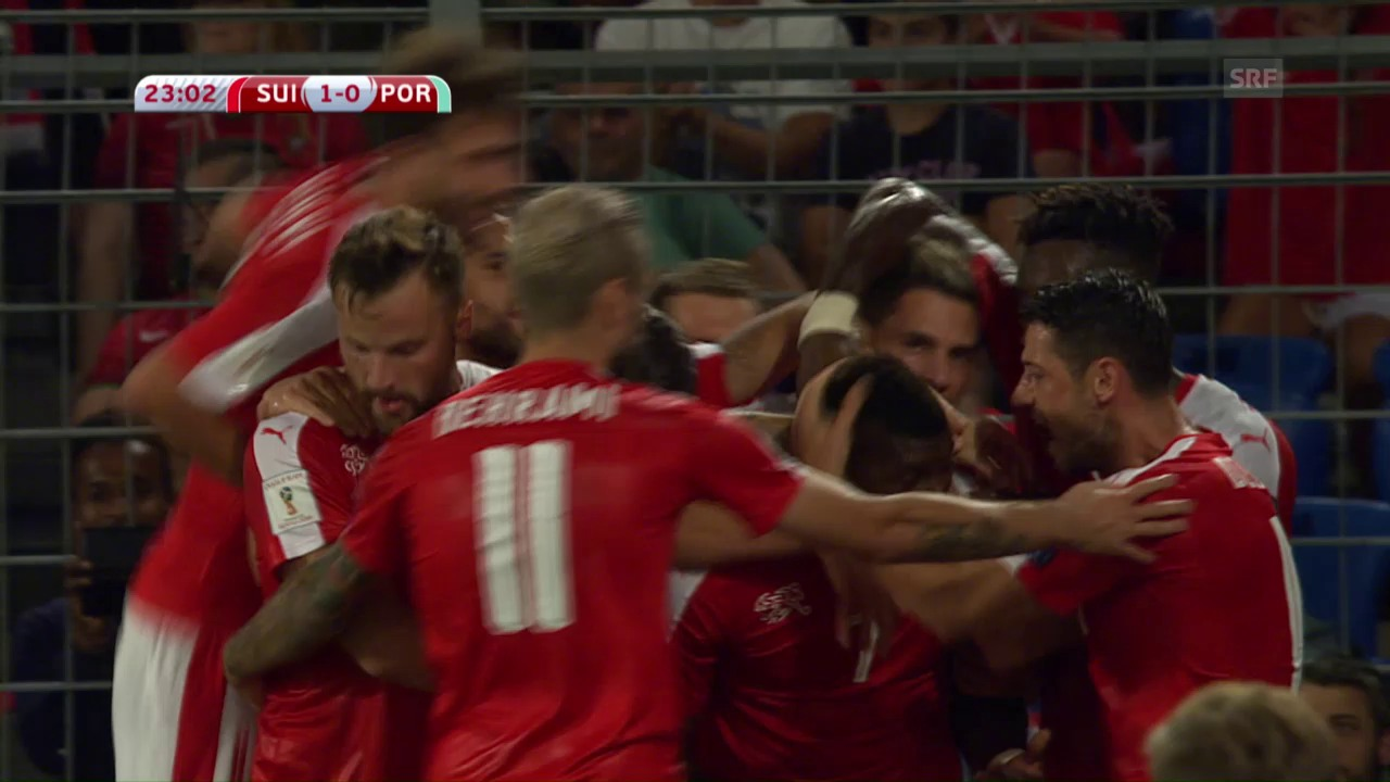 Embolo erzielt das 1:0 gegen Portugal