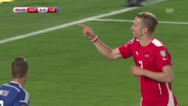 Video «Fussball: EM-Qualifiaktion, Österreich-Liechtenstein, die Tore» abspielen