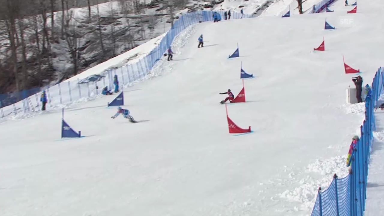 Snowboard: Parallel-RS, Qualifikation, 2. Lauf von Ladina Jenny (sotschi direkt, 19.2.14)