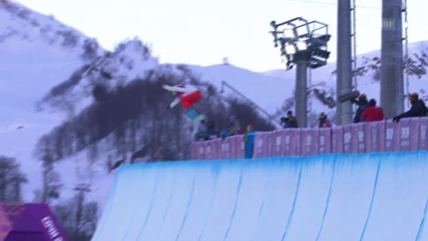 Video «Snowboard: Halfpipe der Frauen, der 2. Run von Verena Rohrer (sotschi direkt, 12.02.2014)» abspielen