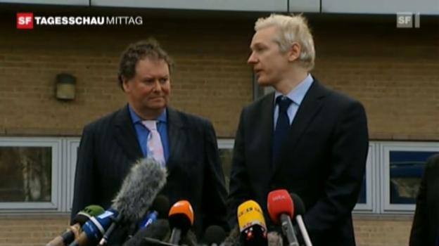 Video «Assange: «Wir setzen die Arbeit an Wikileaks fort.» (Tagesschau vom 11.01.2011)» abspielen