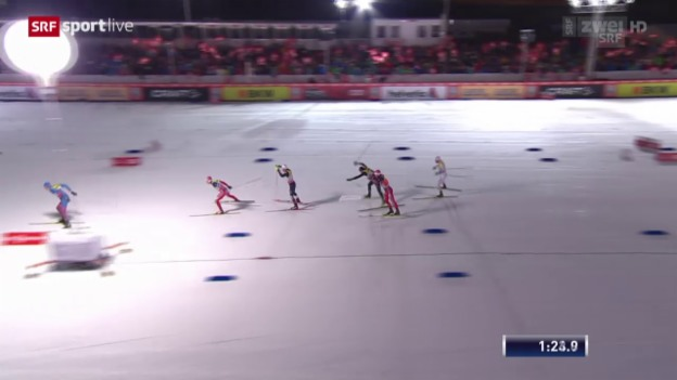 Video «Langlauf: Tour de Ski, Final - Sturz Cologna» abspielen