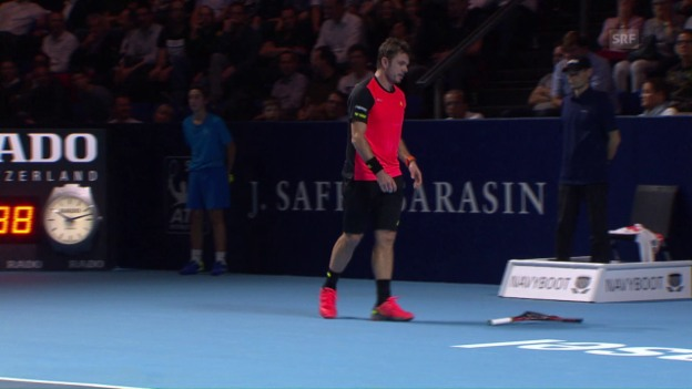 Video «Wawrinka zertrümmert sein Racket» abspielen