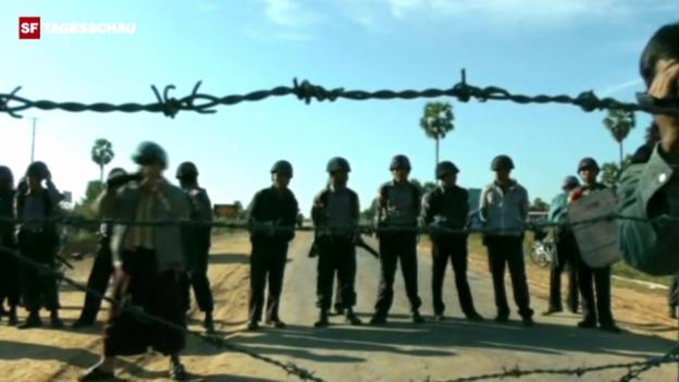 Video «Polizei bockiert Zugang zu Kupfermine (z.T. ohne Ton/Originalton)» abspielen