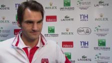 Video «Tennis: Davis Cup, Interview mit Roger Federer an der Pressekonferenz» abspielen