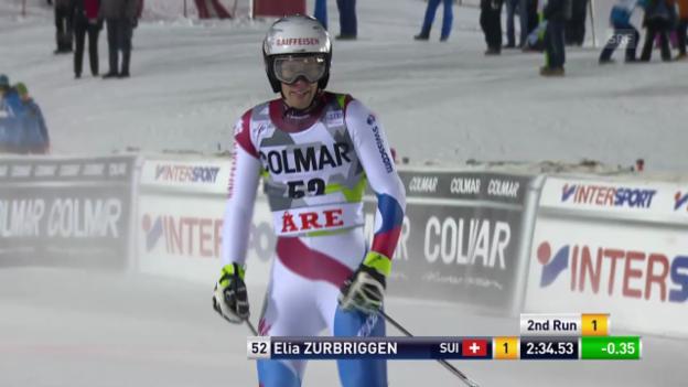 Video «Ski: Riesenslalom Are, 2. Lauf Zurbriggen» abspielen