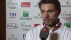 Video «Tennis: Stan Wawrinka vor der Partie gegen Jo-Wilfried Tsonga (französisch)» abspielen