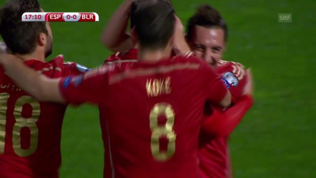 Video «Fussball: EM-Qualifikation, die Tore bei Spanien - Weissrussland» abspielen