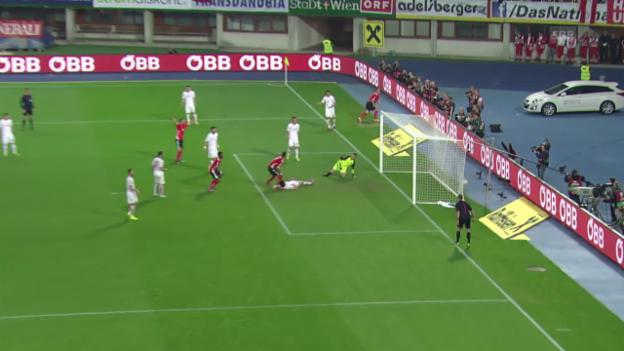 Video «Fussball: Österreichs Tor gegen Montenegro» abspielen