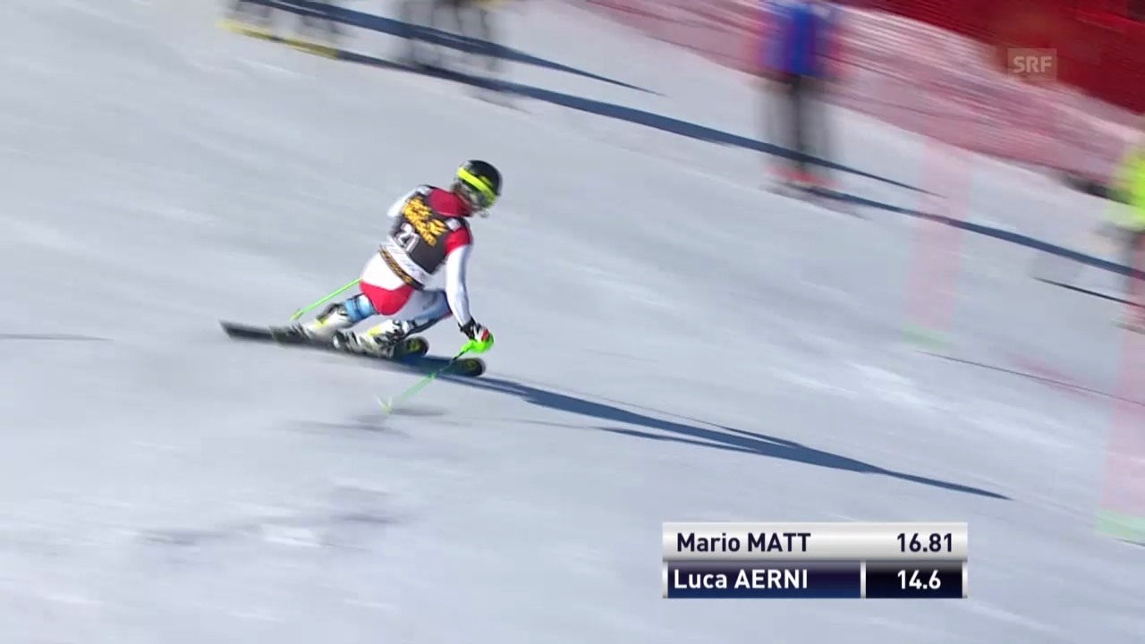 Ski Alpin: Slalom Kranjska Gora, 1. Lauf Luca Aerni («sportlive», 9.3.2014)