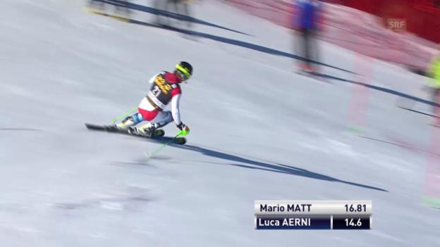 Video «Ski Alpin: Slalom Kranjska Gora, 1. Lauf Luca Aerni («sportlive», 9.3.2014)» abspielen