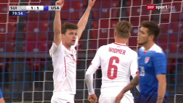 Video «Fussball: Schweiz-USA, Tor Stocker» abspielen