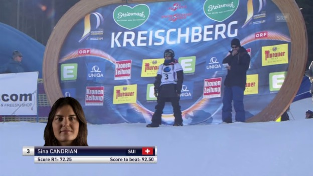 Video «Snowboard: Freestyle-WM - Slopestyle 2. Final-Lauf Sina Candrian» abspielen