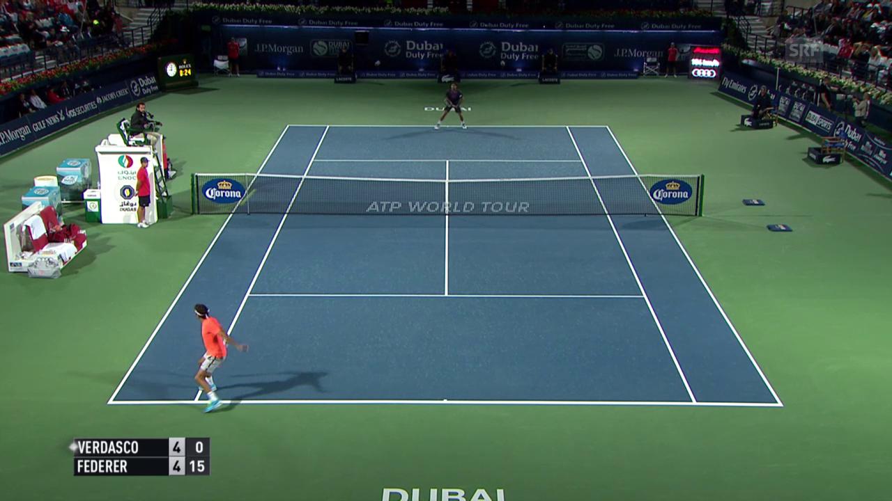 Tennis: ATP Dubai, Achtelfinal, Live-Highlights Federer - Verdasco