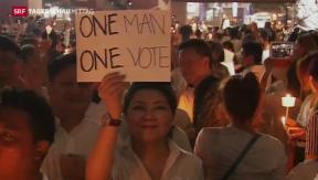 Video «Bangkok kurz vor Lahmlegung» abspielen