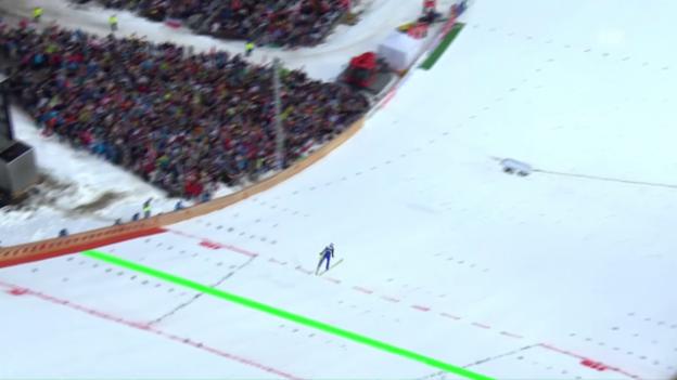 Video «234,5 m: Wellinger fliegt zu Schanzenrekord» abspielen