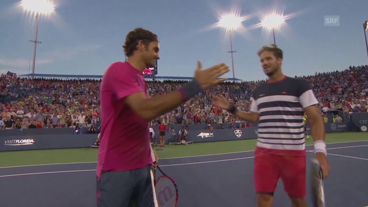 Tennis: Cincinnati, Viertelfinals Federer - Lopez