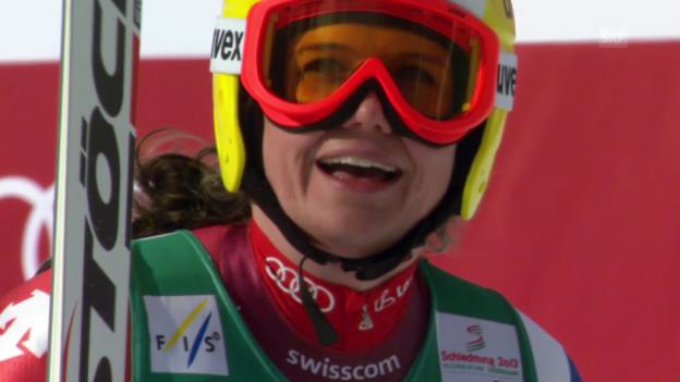 Video «Ski alpin: WM 2013 in Schladming, Abfahrt, Jnglin-Kamer wird 4.» abspielen
