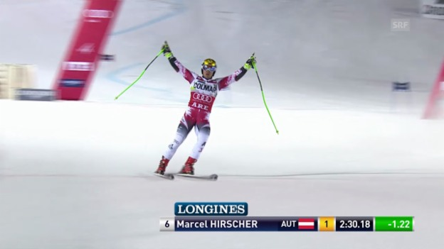 Video «Ski: Riesenslalom Are, 2. Lauf Hirscher» abspielen
