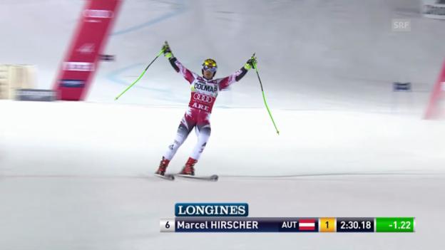Video «Ski: Riesenslalom Are, 2. Lauf Hirscher» abspielen