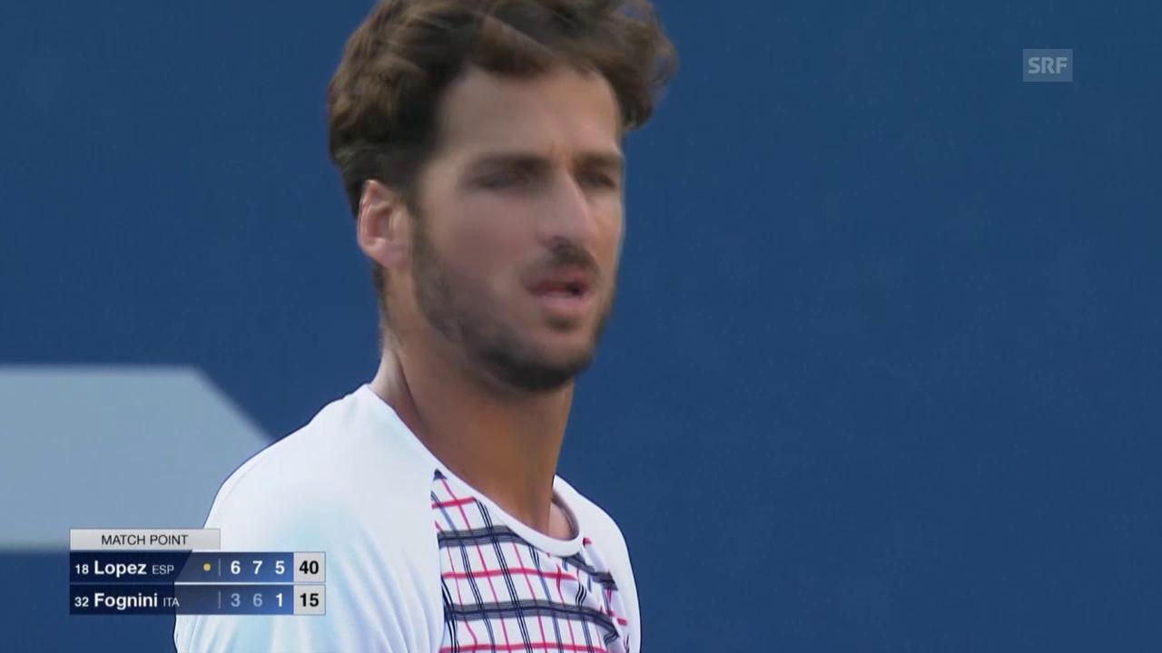 Tennis: US Open 2015, Männer, Achtelfinal, Feliciano Lopez - Fabio Fognini