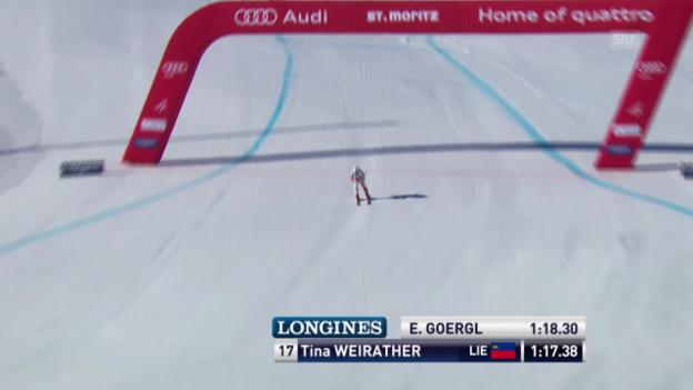 Video «Ski alpin: Super-G Frauen St. Moritz, Tina Weirathers Bestzeit («sportlive»)» abspielen