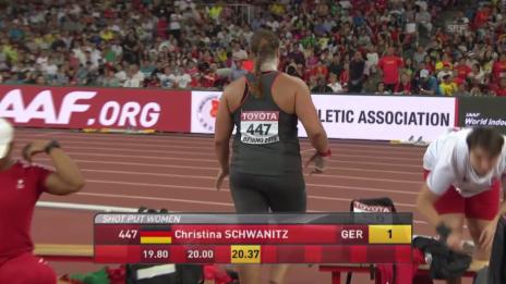 Video «Leichathletik: WM in Peking, Kugelstossen Frauen, Schwanitz wird Weltmeisterin» abspielen