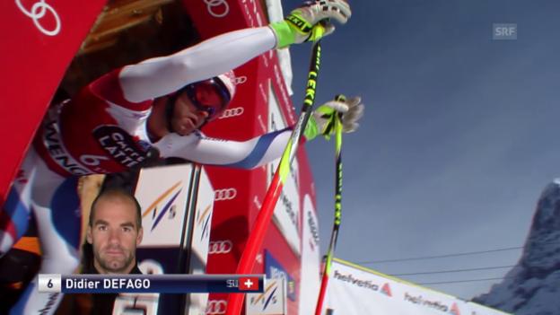 Video «Ski Alpin: Abfahrt Wengen, Fahrt von Defago» abspielen