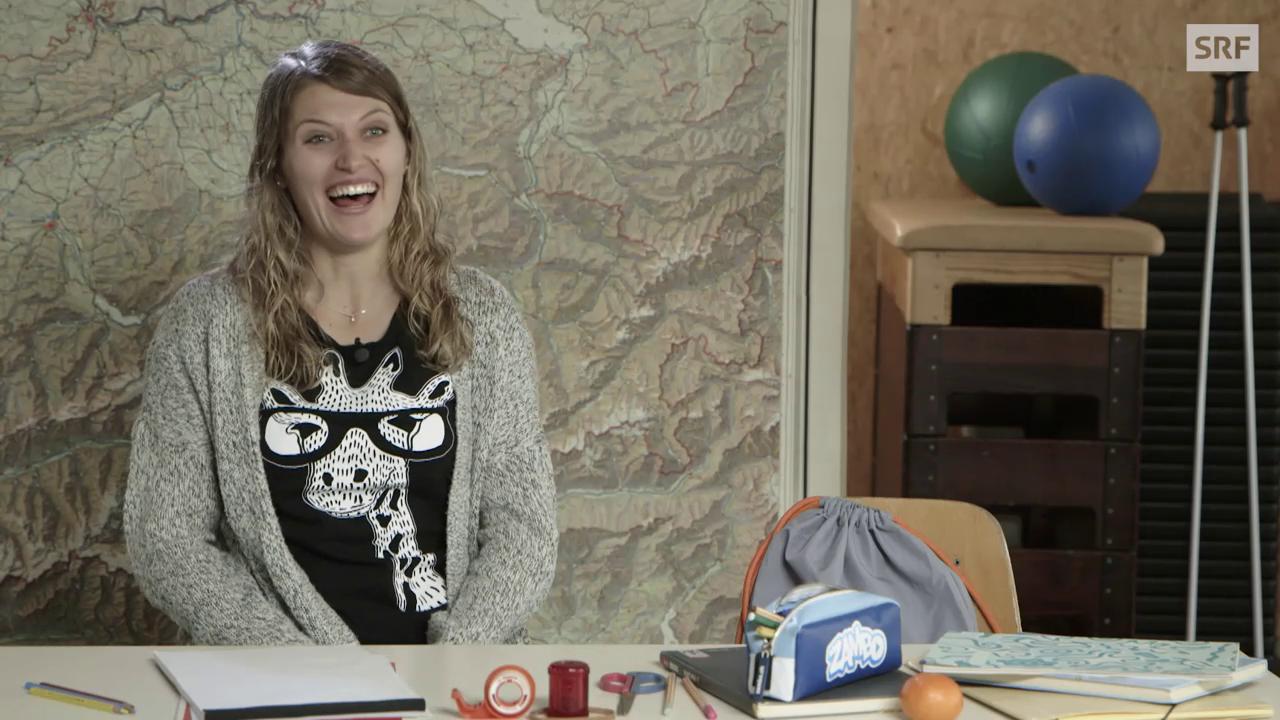 Skirennfahrerin Denise Feierabend stellt sich der Realienprüfung