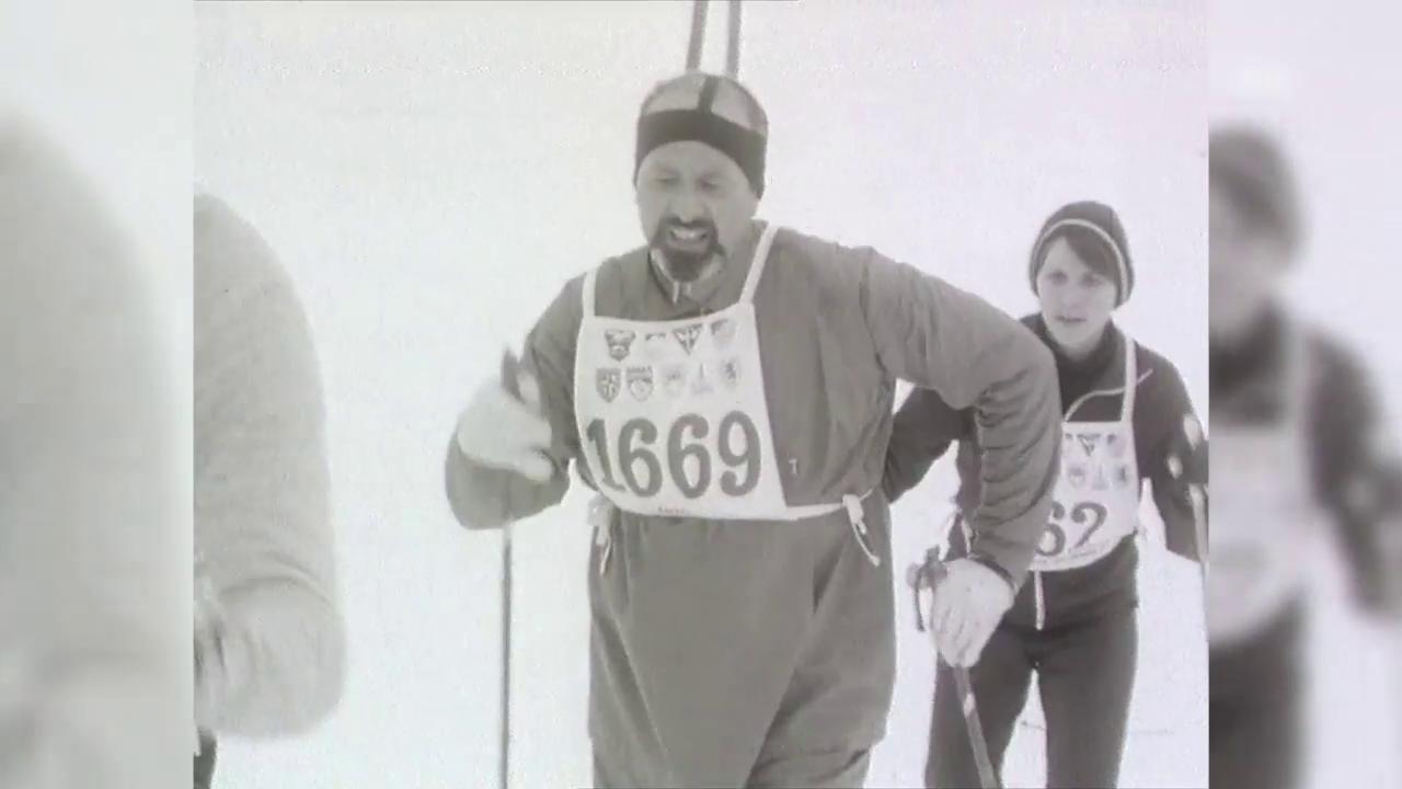 Radiowanderung auf Ski – Engadiner Skimarathon 1970