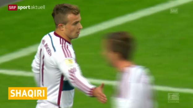 Video «Fussball: Eintracht Frankfurt - Bayern München, das Tor von Xherdan Shaqiri» abspielen