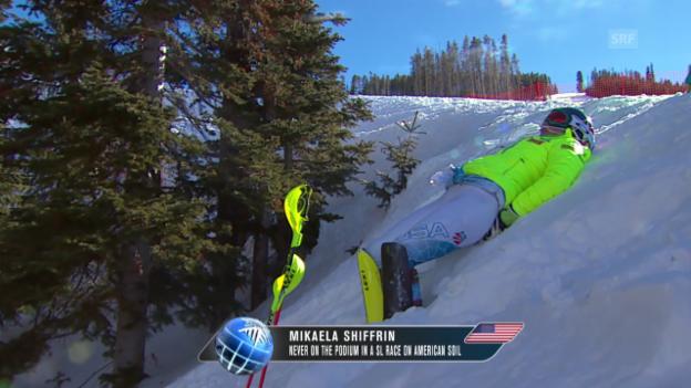 Video «Ski alpin: WM in Vail/Beaver Creek, Slalom, Mikaela Shiffrin vor dem 2. Lauf» abspielen