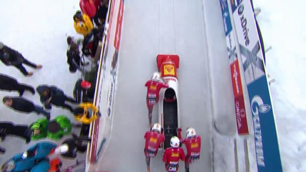 Video «Bob: Viererbob St. Moritz, 1. Lauf Peter» abspielen