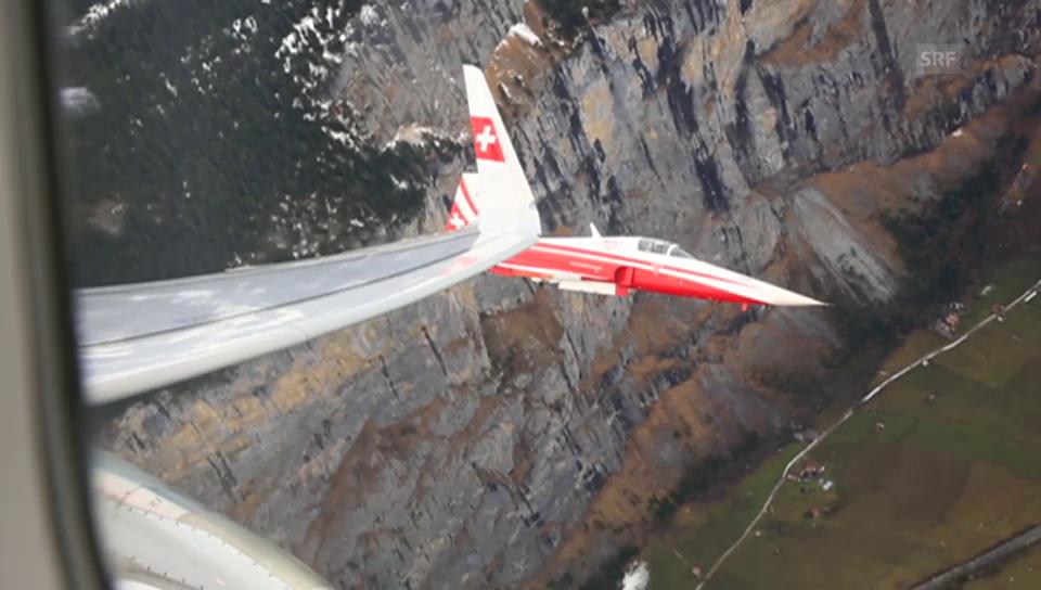 Eskorte für den Swiss-Airbus