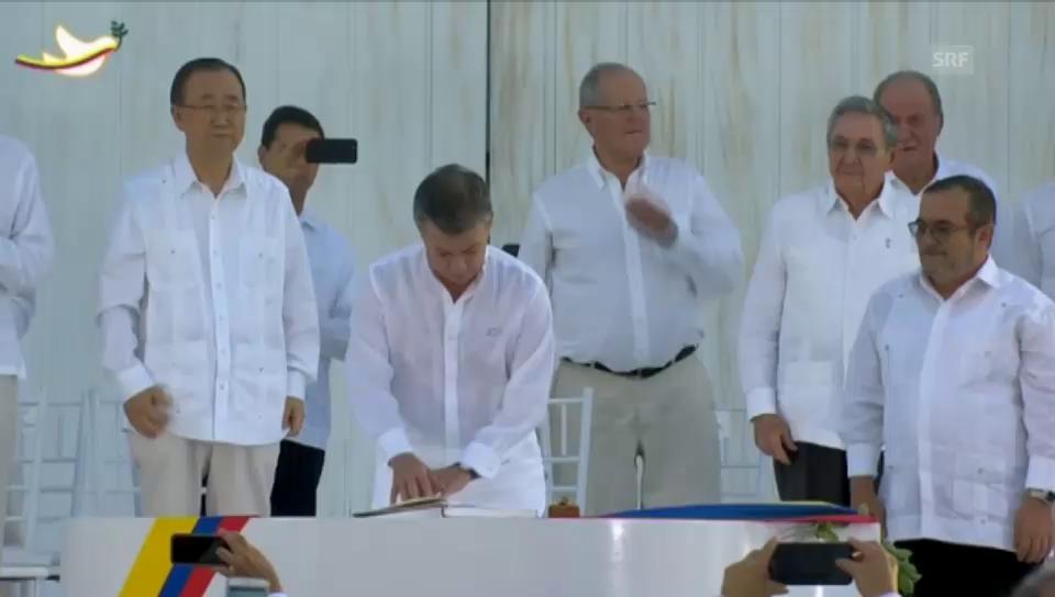 Santos unterzeichnet Friedensvertrag