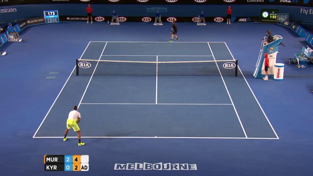 Tennis: Australian Open: Murray -Kyrgios, Break Kyrgios im 3. Satz