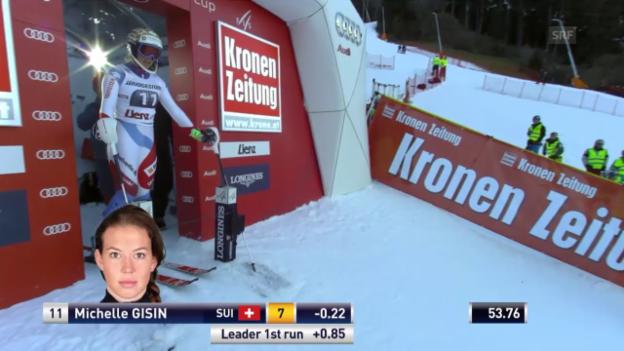 Video «Ski: Slalom Frauen, 2. Lauf Gisin» abspielen