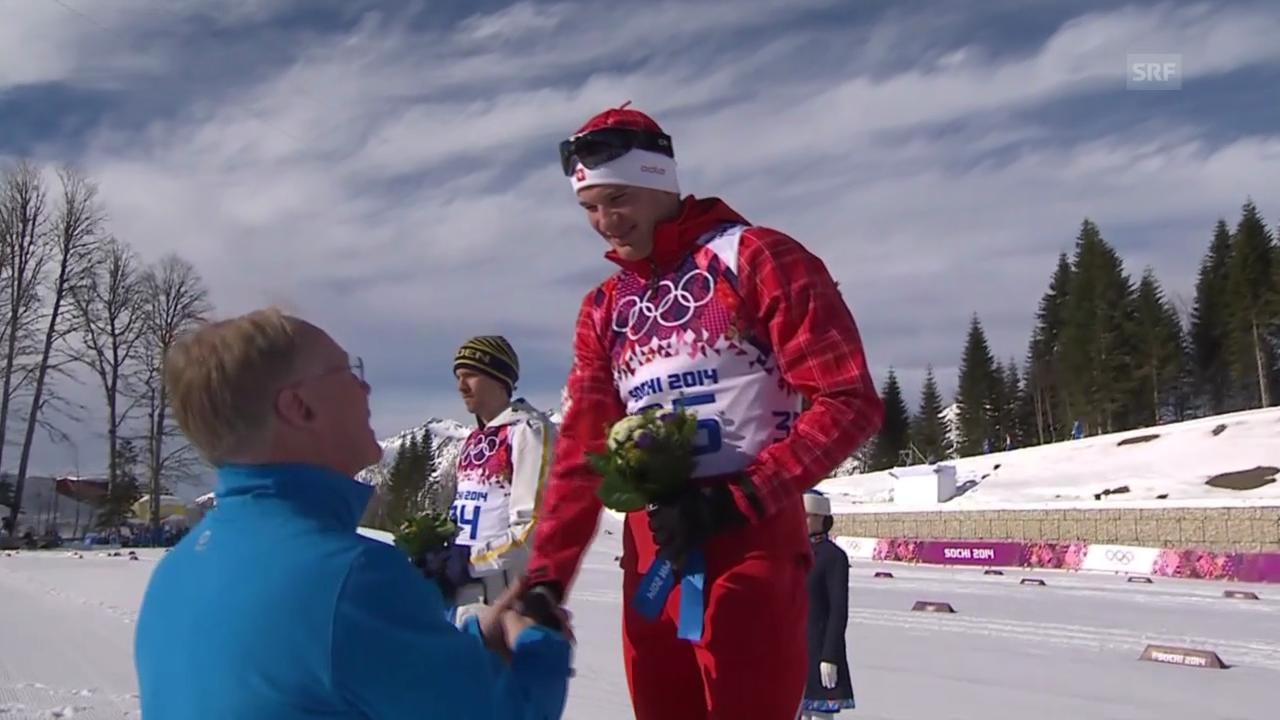 Langlauf: Flower-Ceremony mit Dario Cologna (sotschi direkt, 14.2.2014)