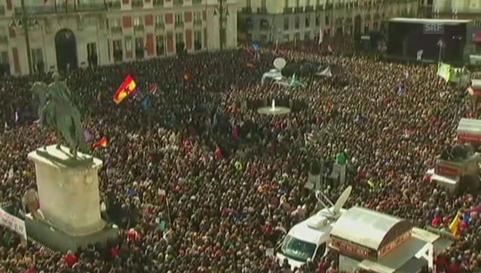 Podemos auf der Puerta del Sol in Madrid