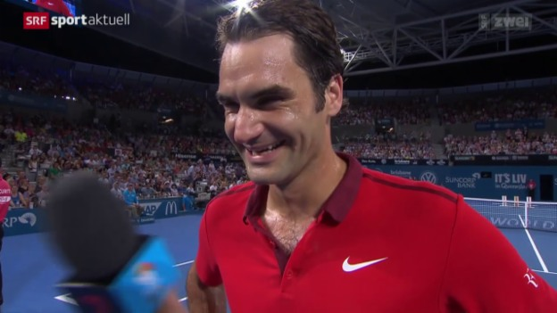 Video «Tennis: ATP-Turnier in Brisbane, Viertelfinal: Dochworth - Federer» abspielen