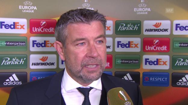 Video «Basel-Coach Urs Fischer nimmt nach der Niederlage gegen St. Etienne Stellung» abspielen