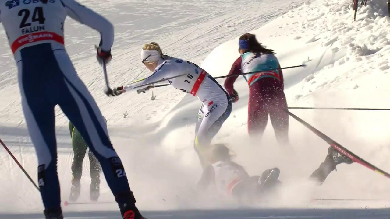 Nadine Fähndrich stürzt im Sprint von Falun