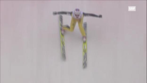 Video «Skispringen: 2. Sprung von Simon Ammann in Innsbruck» abspielen