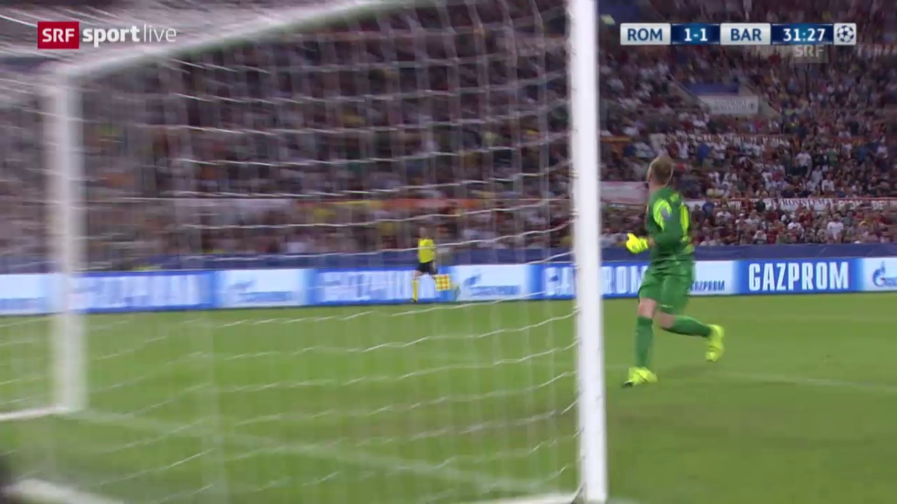 Fussball: CL, Tor Florenzi Roma - Barcelona
