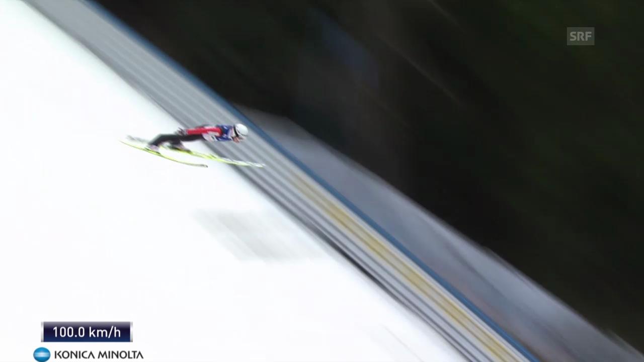 Skifliegen in Bad Mitterndorf: 1. Flug von Simon Ammann (unkommentiert)