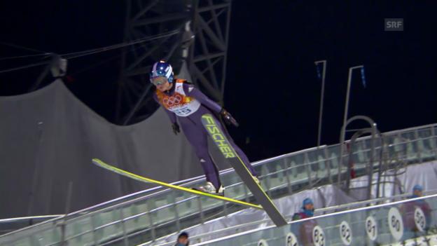 Video «Skispringen: Entscheidung Normalschanze Frauen (sotschi direkt, 11.02.2014)» abspielen