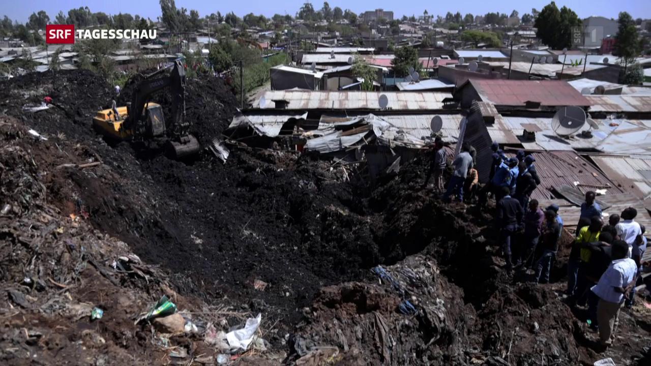 Abrutschende Müllhalde verschüttet Menschen